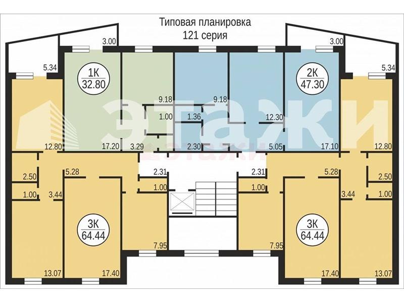 Квартира 65,00 м2 по улице 50лет октября 54 в тюмени - прода.