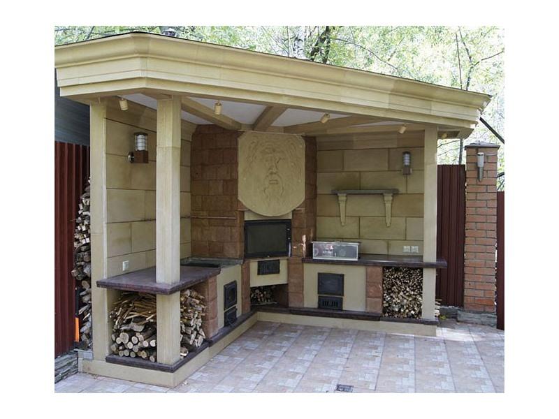 уличная кухня из кирпича фото